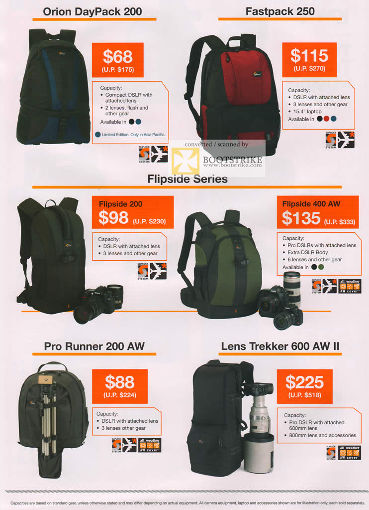 COMEX 2011 price list image brochure of Cathay Photo Lowepro Bags Orin DayPack Fastpack 250 Flipside 200 400 AW Pro Runner 200 AW Lens Trekker 600 AW II