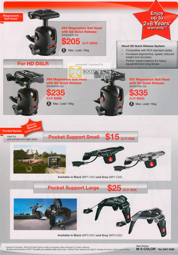 COMEX 2011 price list image brochure of Cathay Photo Manfrotto Magnesium Ball Head Quick Release Pcoket Support Small MP1-C01 C02 Large MP3-D01 D02