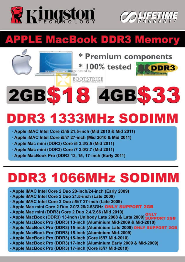 COMEX 2011 price list image brochure of Convergent Kingston Apple MacBook DDR3 Memory 1333Mhz SODIMM 1066Mhz IMac Mac Mini Pro