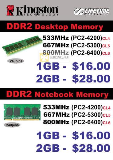 COMEX 2011 price list image brochure of Convergent Kingston DDR2 Desktop Memory Notebook 533Mhz 667Mhz 800Mhz
