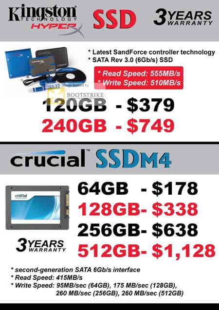 COMEX 2011 price list image brochure of Convergent Kingston HyperX SSD SandForce Crucial SSDM4 Storage 120GB 240GB 64GB 128GB 256GB 512GB