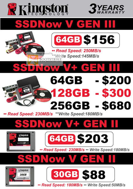 COMEX 2011 price list image brochure of Convergent Kingston SSDNow V Gen III II 64GB 128GB 256GB 30GB