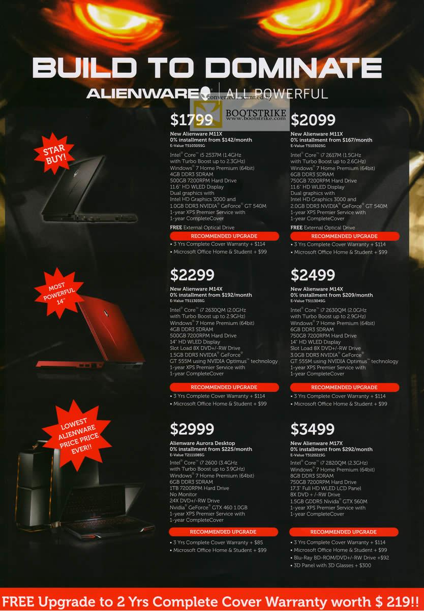 COMEX 2011 price list image brochure of Dell Notebooks Alienware Gaming M11X M14X Aurora Desktop PC M17X