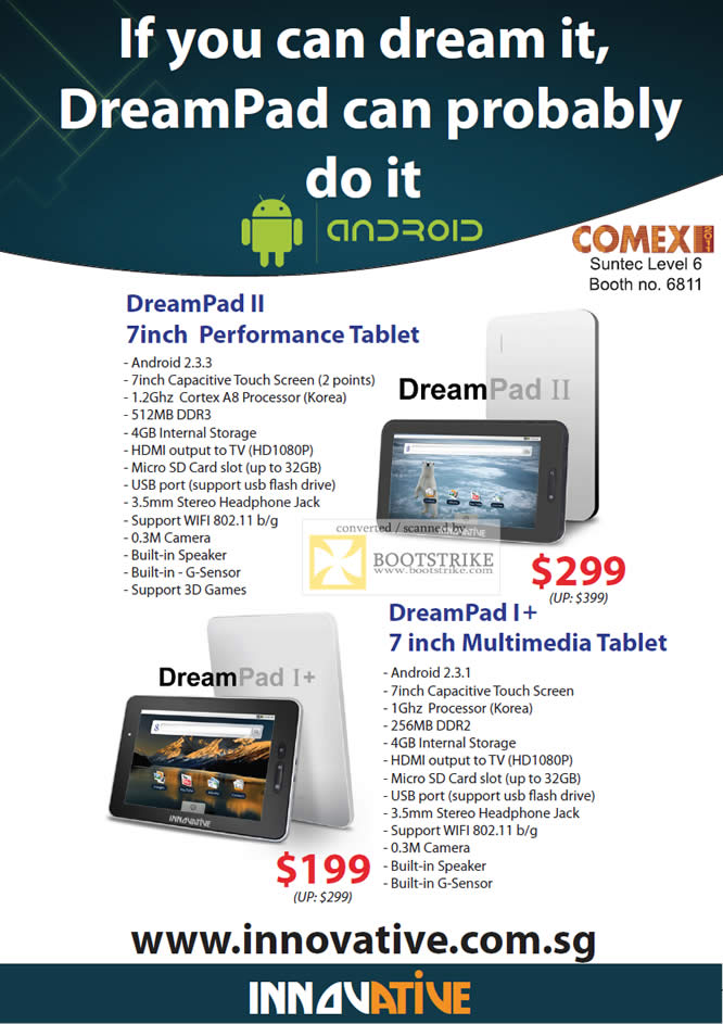 COMEX 2011 price list image brochure of Eastgear Innovative Tablet DreamPad II I Android