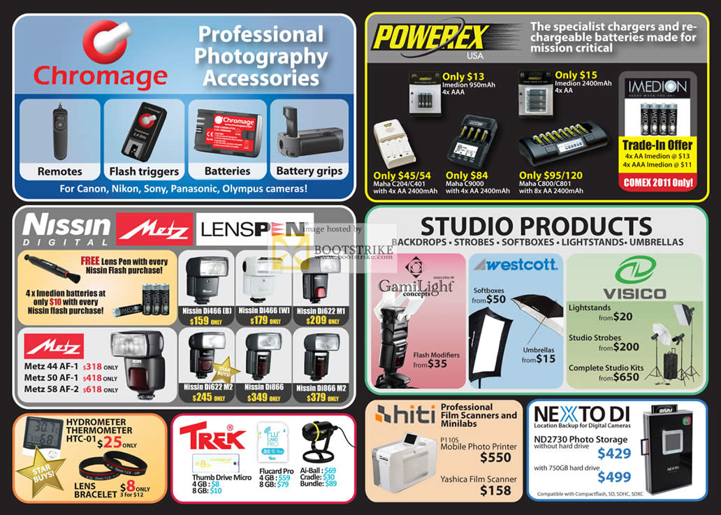 COMEX 2011 price list image brochure of Eastgear Red Dot Photo Chromage Powerex Battery Imedion Nissin Digital Metz Lenspen Flash Trek Drive Visico GamiLight Westcott Hiti Scanner Nexto Di External Storage