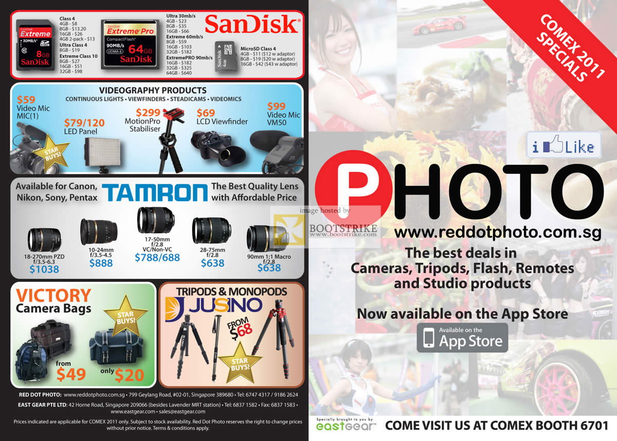 COMEX 2011 price list image brochure of Eastgear Red Dot Photo Tripod Flash Remote Sandisk Extreme Pro Memory Card Tamron Jusino Monopod Victory Bags Lens Mic