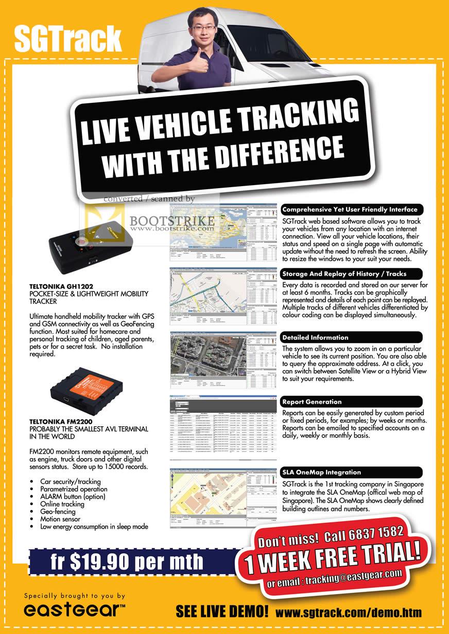 COMEX 2011 price list image brochure of Eastgear SGTrack Live Vehicle Tracking Teltonika GH1202 Tracker FM2200 AVI Terminal