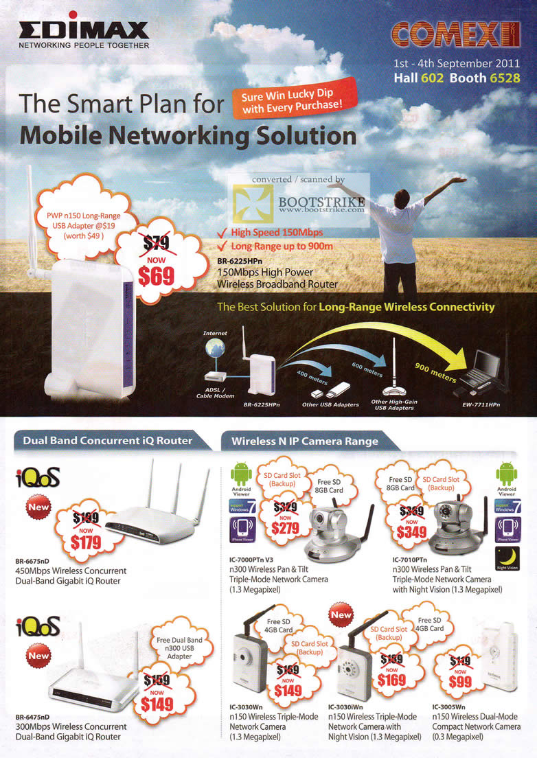 COMEX 2011 price list image brochure of Edimax Networking BR-6225HPn Wireless Router IQ IPCam IC-7000PT IC-3030WN IC-3030iWn IC-3005WN IC-7010PTn