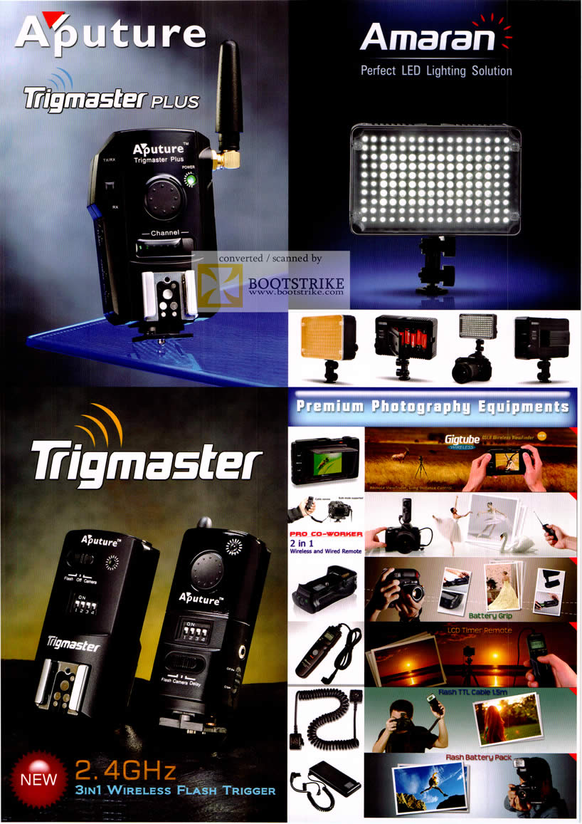 COMEX 2011 price list image brochure of El Dorado Aputure Trigmaster Plus Amaran LED Lighting Solution Wireless Flash Trigger Gigtube Photography Equipment Battery Grip