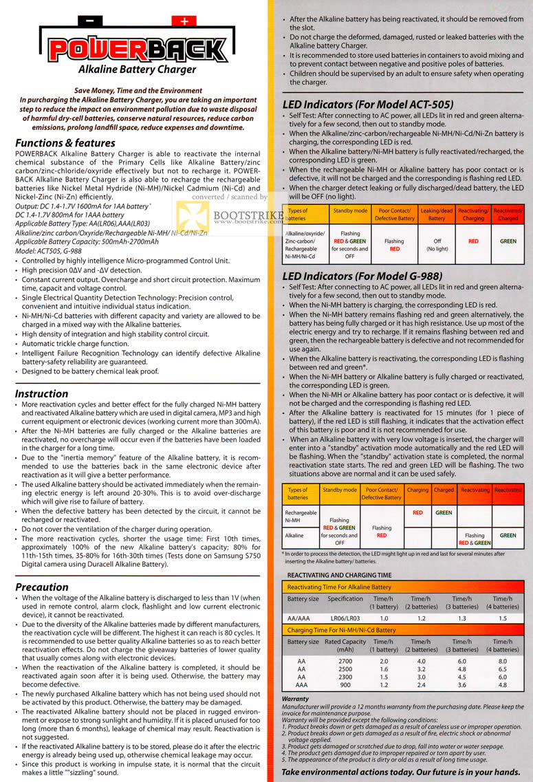 COMEX 2011 price list image brochure of Emarco Powerback Alkaline Battery Charger Recharger Functions Features Instruction ACT-505 G-988