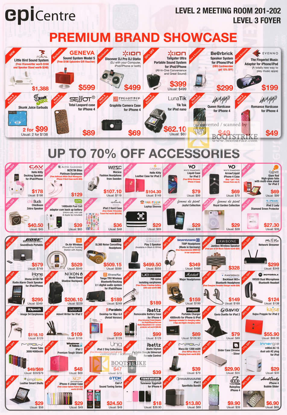 COMEX 2011 price list image brochure of EpiCentre Accessories Geneva Ion Evenno Skunk Juice CAV Japan Altec Lansing Bose TDK Uniq MGavio IBattz Klipsch Jawbone Sonos