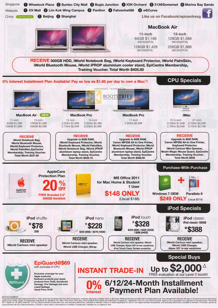 COMEX 2011 price list image brochure of EpiCentre Apple Notebooks MacBook Air Pro IMac Desktop PC IPod Shuffle Nano Touch Classic Parallels 6 Windows 7 OEM Microsoft Office 2011 AppleCare EpiGuard