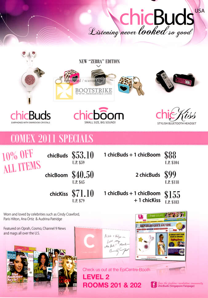 COMEX 2011 price list image brochure of EpiCentre Chicbuds Zebra Chicboom Chickiss Earphones