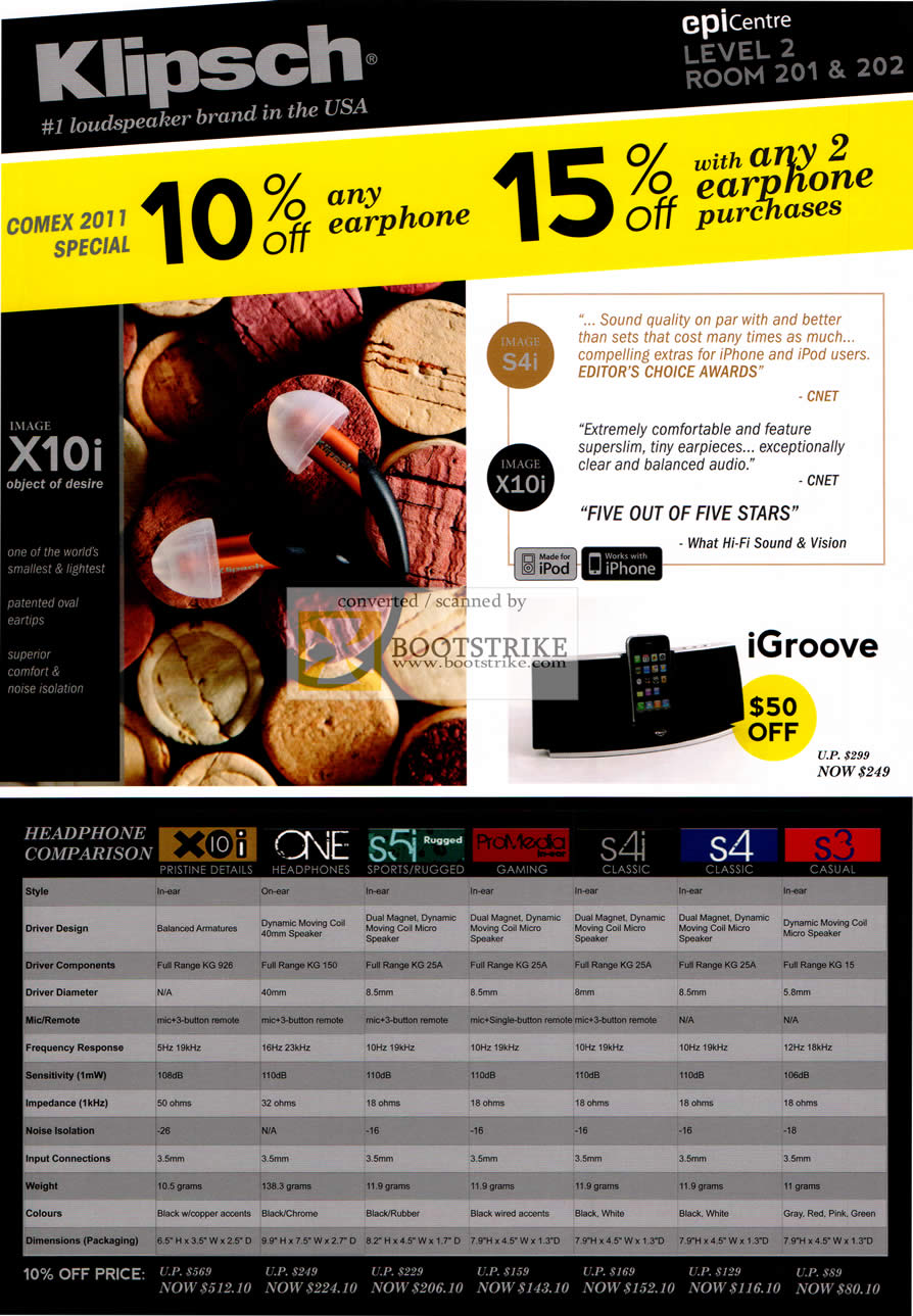 COMEX 2011 price list image brochure of EpiCentre Klipsch Headphones X10i One S5i Rugged Earphones ProMedia In Ear S4i S4 S3 IGroove