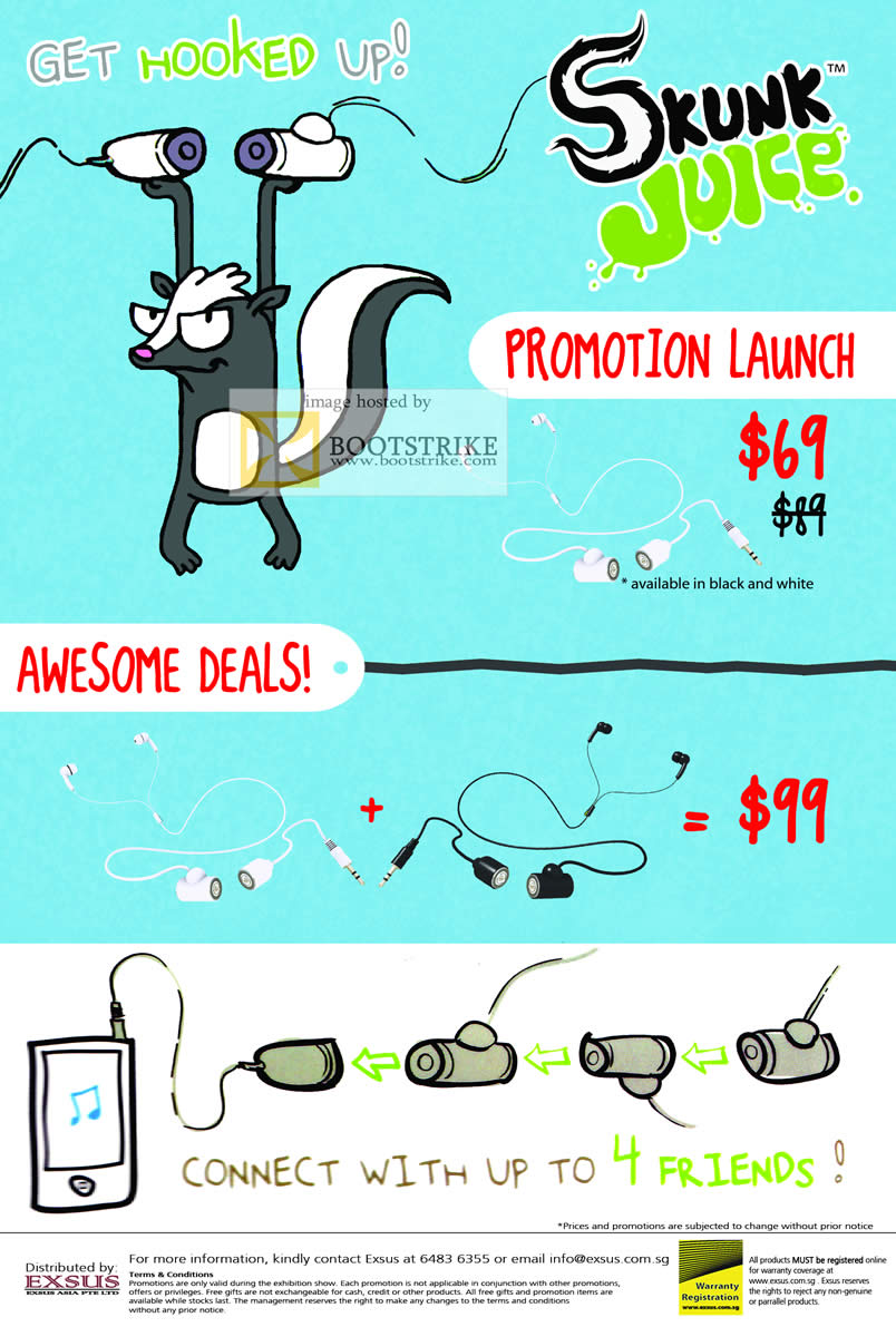 COMEX 2011 price list image brochure of EpiCentre Skunk Juice Earphones Launch