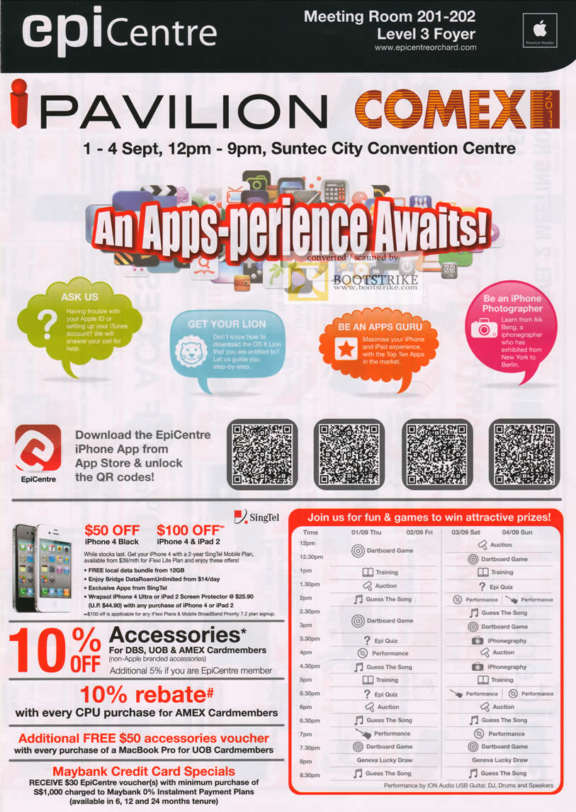 COMEX 2011 price list image brochure of EpiCentre IPavilion Time Table Schedule Singtel IPhone 4 Ipad 2 Apps