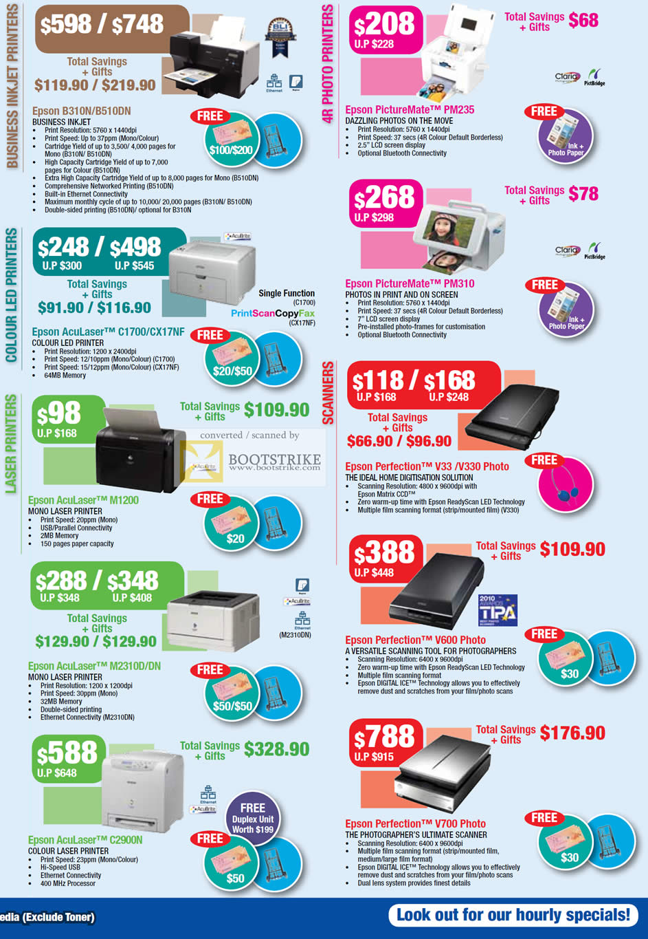 COMEX 2011 price list image brochure of Epson Printers Business Inkjet B310N B510DN PictureMate PM235 PM310 Colour LED AcuLaser C1700 CX17NF M2310D DN Scanner Perfection V600 C2900N V700