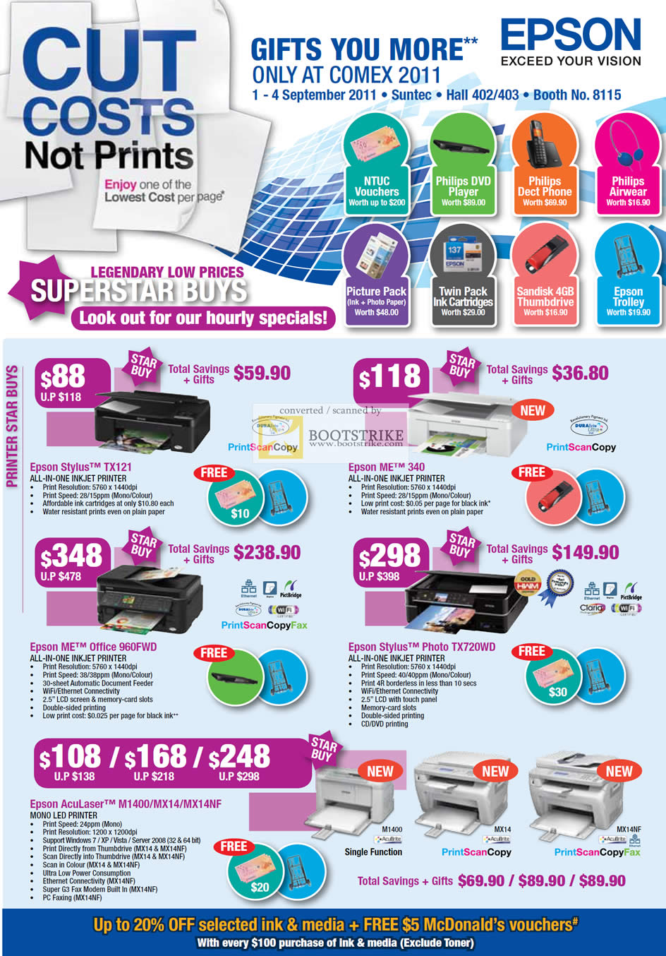 COMEX 2011 price list image brochure of Epson Printers Inkjet Stylus TX121 ME 340 Office 960WD Photo TX720WD AcuLaser M1400 MX12 MX14NF LED