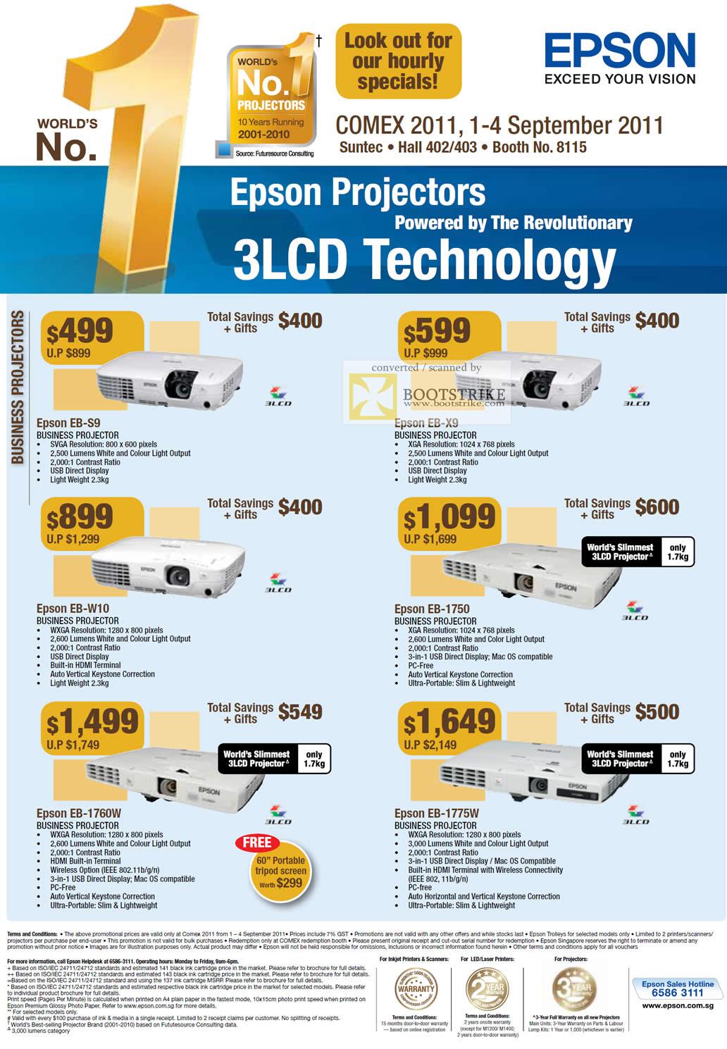 COMEX 2011 price list image brochure of Epson Projectors Business EB-S9 EB-X9 EB-W10 EB-1750 EB-1760W EB-1775W