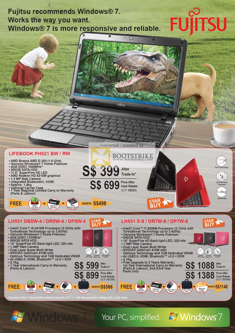 COMEX 2011 price list image brochure of Fujitsu Notebooks Lifebook PH521 BW RW LH531 DB5W-4 DR5W-4 DP5W-4 LH531 S-8 DR7W-8 DP7W-8
