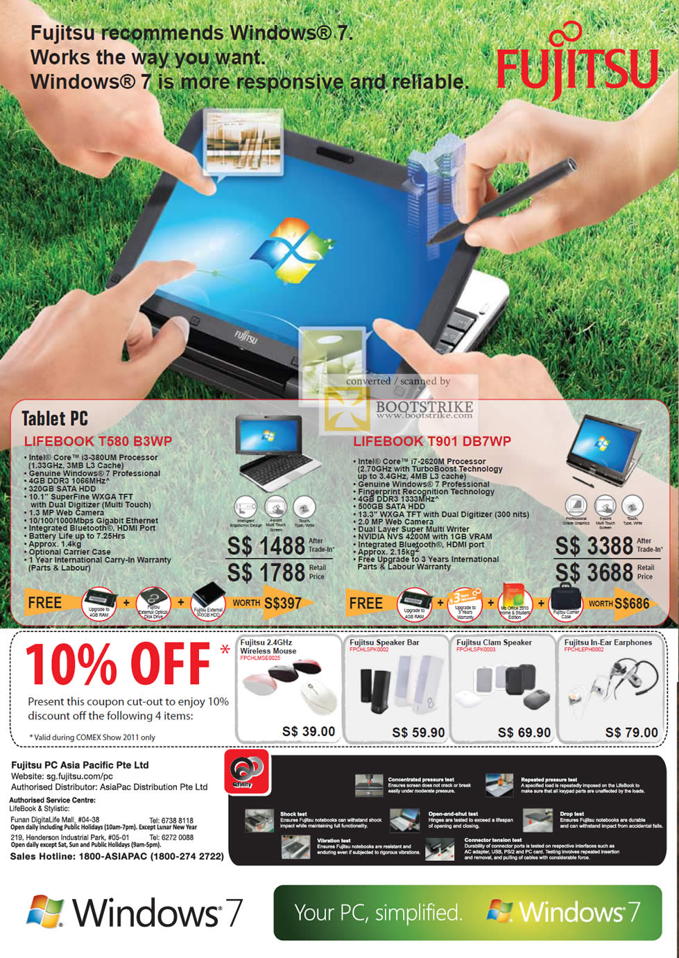 COMEX 2011 price list image brochure of Fujitsu Notebooks Lifebook Tablet T580 B3WP T901 DB7WP Coupons