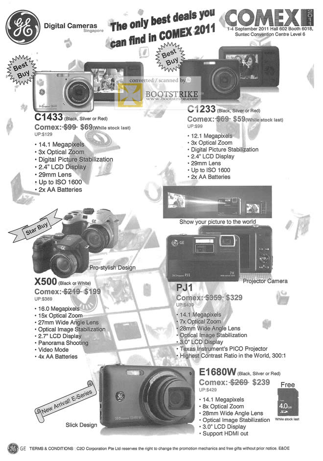 COMEX 2011 price list image brochure of GE Digital Cameras C1433 C1233 X500 PJ1 E1680W