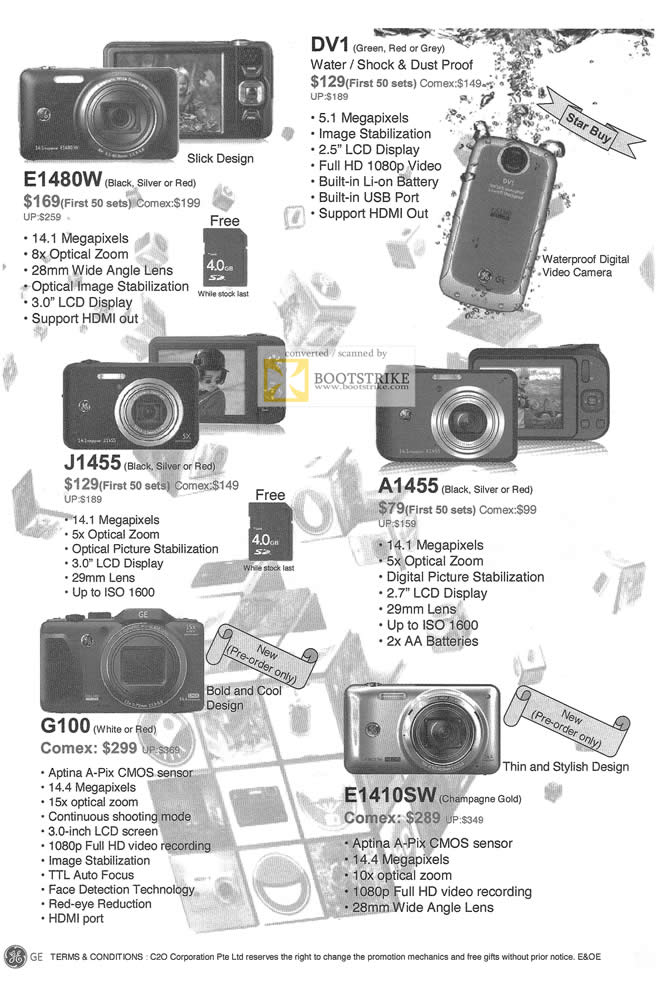 COMEX 2011 price list image brochure of GE Digital Cameras E1480W DV1 J1455 A1455 G100 E1410SW