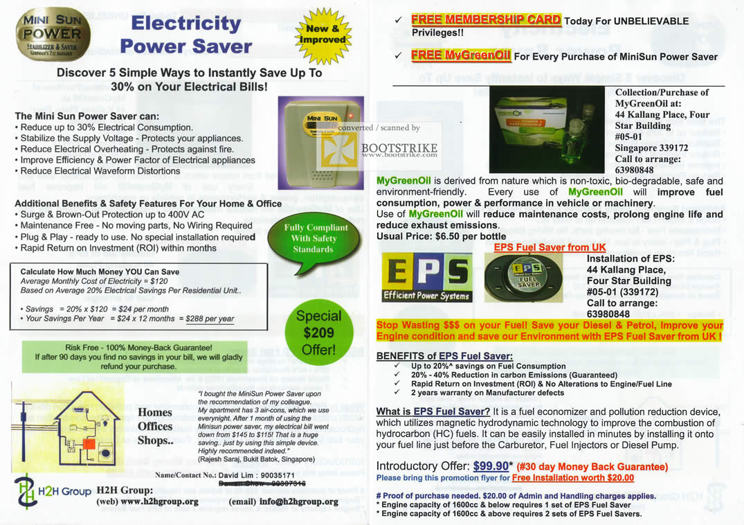 COMEX 2011 price list image brochure of H2H Electricity Power Saver MyGreenOil EPS Fuel Saver