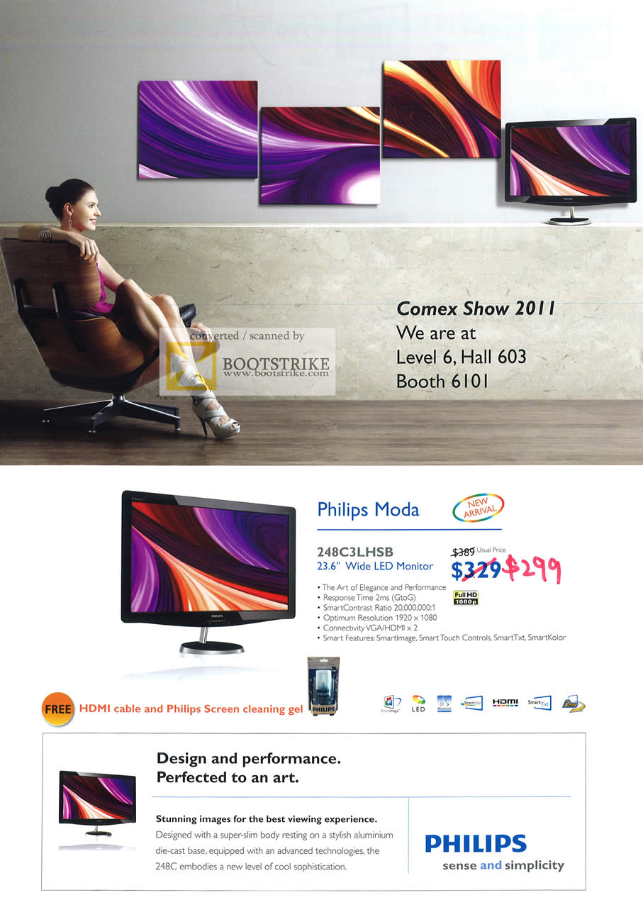 COMEX 2011 price list image brochure of Harvey Norman Philips LED Monitor Moda 248C3LHSB