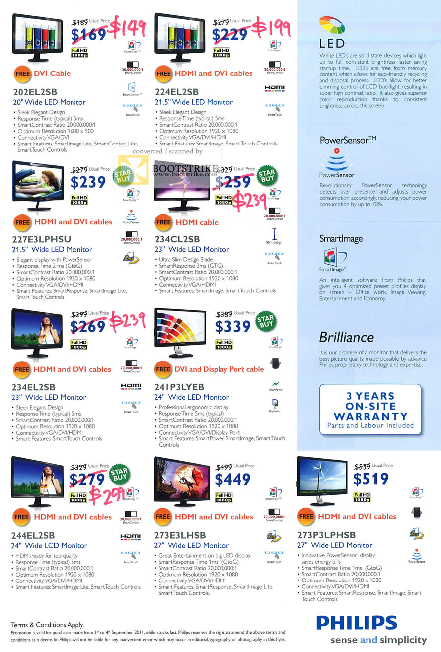 COMEX 2011 price list image brochure of Harvey Norman Philips LED Monitors 202EL2SB 224EL2SB 227E3LPHSU 234CL2SB 234EL2SB 241P3LYEB 244EL2SB 273E3LHSB 273P3LPHSB