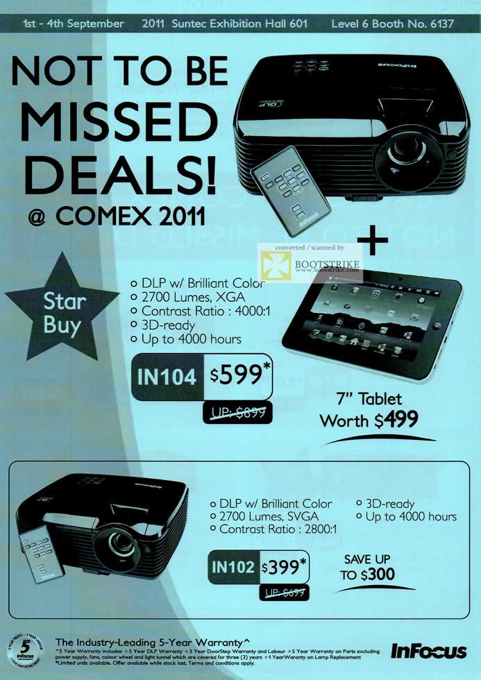 COMEX 2011 price list image brochure of Infocus Projectors IN104 IN102