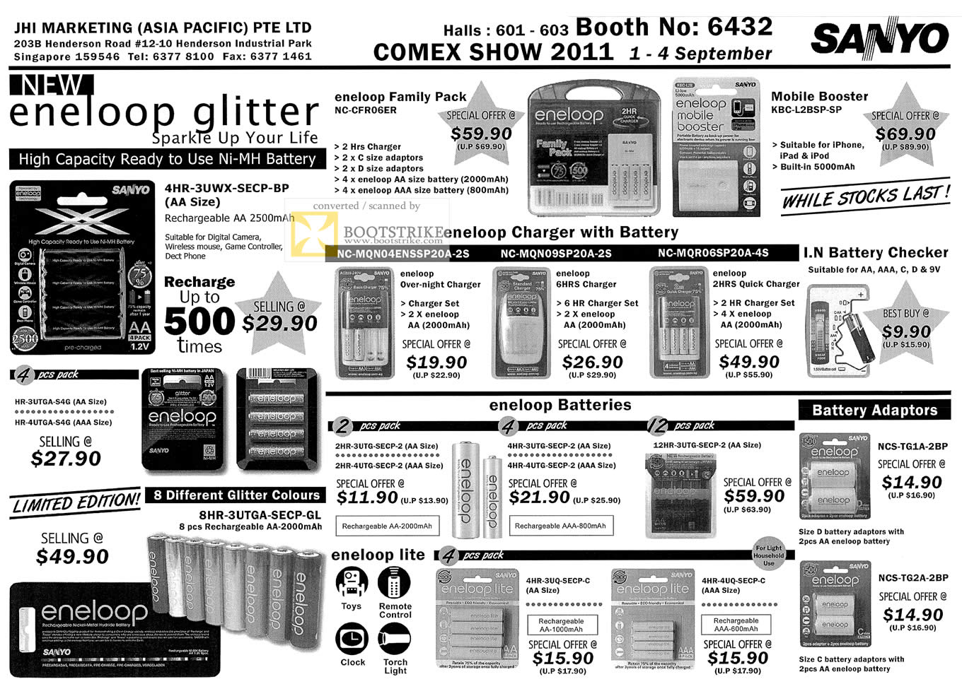 COMEX 2011 price list image brochure of JHI Sanyo Eneloop Glitter Battery Charger Adapter Checker Lite Ni-MH