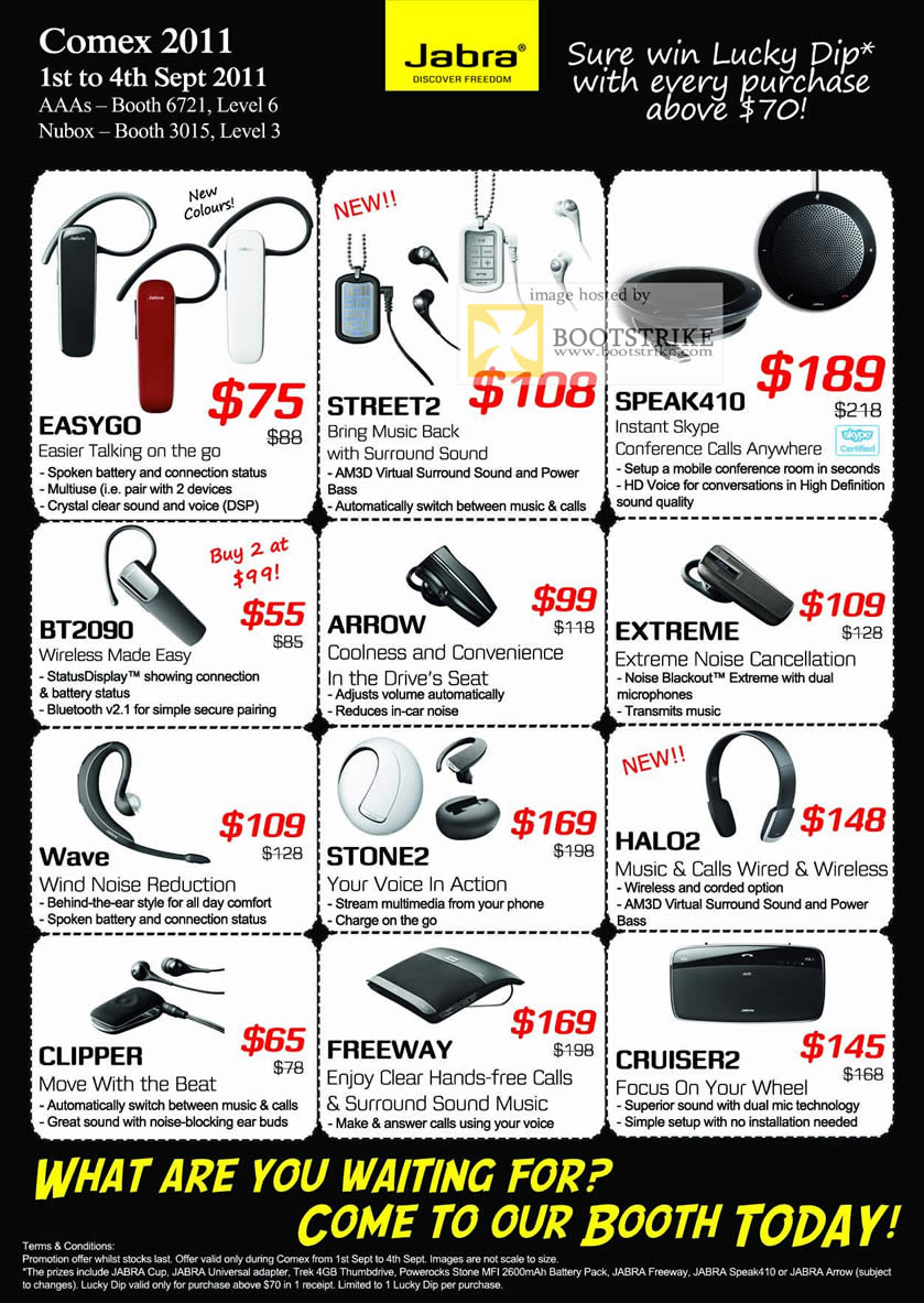 COMEX 2011 price list image brochure of Jabra Easygo Bluetooth Handsfree Street2 Speak410 Bt2090 Arrow Extreme Wave Stone2 Halo2 Clipper Freeway Cruiser2