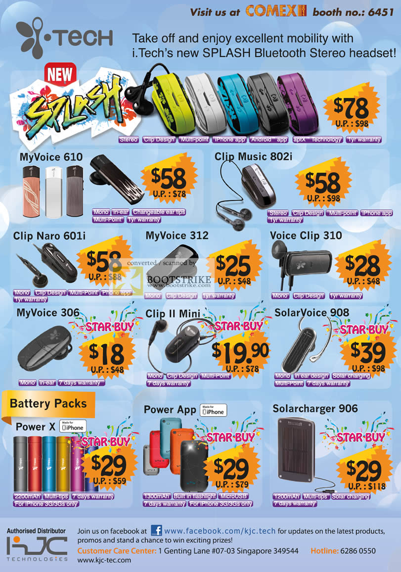 COMEX 2011 price list image brochure of KJC ITech Bluetooth Headset Charger Splash MyVoice 610 Clip Music 802i Naro 601i 312 Voice Clip 310 306 II Mini SolarVoice 908 Power X App Solarcharger 906