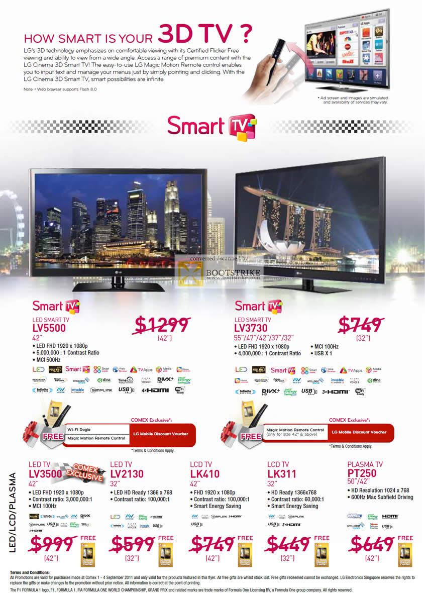 COMEX 2011 price list image brochure of LG TV LED Smart LV5500 LV3730 LV3500 LV2130 LK410 LK311 PT250