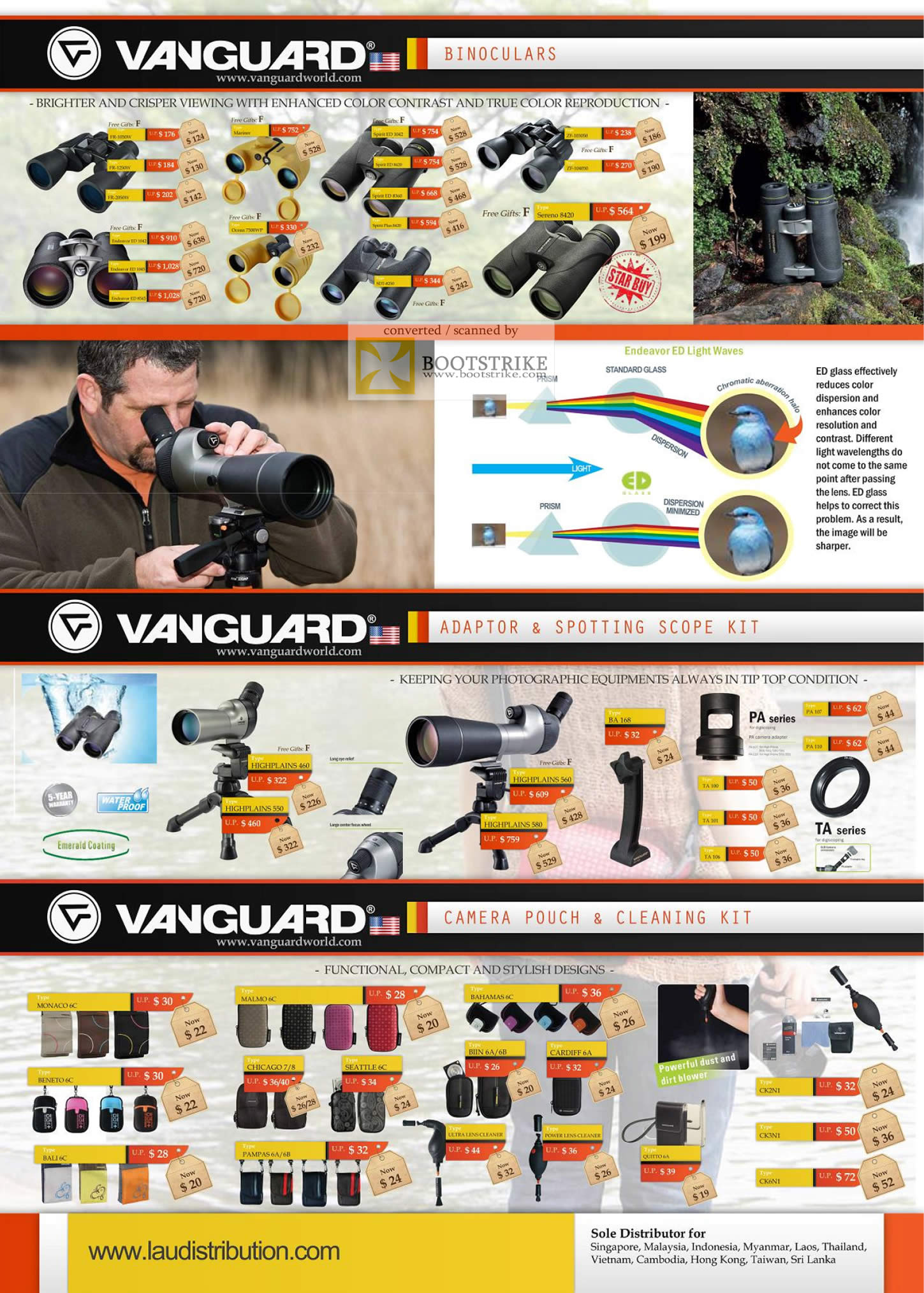 COMEX 2011 price list image brochure of Lau Intl Vanguard Binoculars Endeavor ED Glass Adaptor Spotting Scope Kit Camera Pouch Cleaning Kit