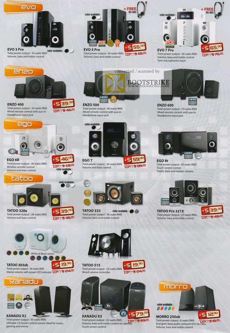 COMEX 2011 price list image brochure of Leap Frog SonicGear Speakers Evo 3 Pro 5 7 Enzo 400 500 600 Ego 6R 7 8T Tatoo 320e 333 Pro 321X 303xb 515 Xanadu X2 X3 Morro 250xb