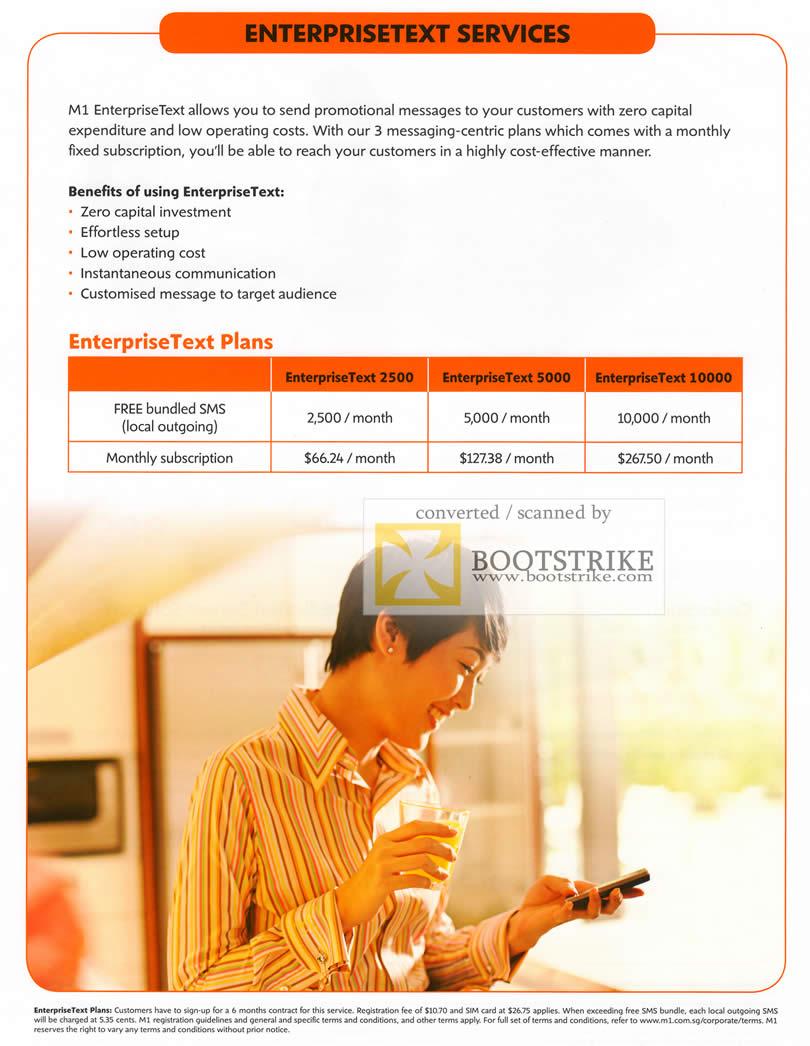 COMEX 2011 price list image brochure of M1 Business EnterpriseText Plans