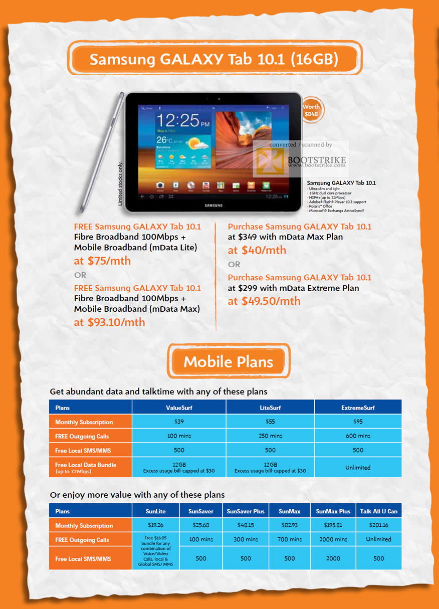 COMEX 2011 price list image brochure of M1 Fibre Broadband Mobile MData Lite Samsung Galaxy Tab 10.1 MData Max Extreme Mobile Plans ValueSurf LiteSurf ExtremeSurf SunLite SunSaver Plus SunMax Tall All U Can