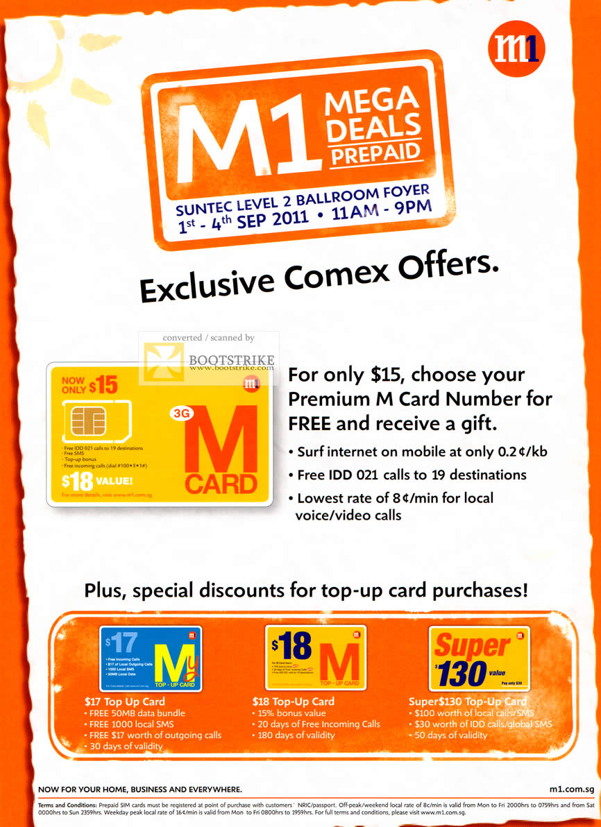 COMEX 2011 price list image brochure of M1 Prepaid M Card Number Top Up Card