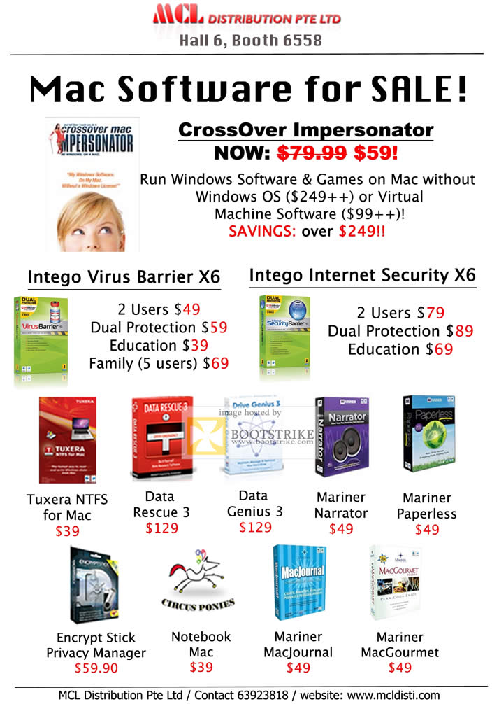 COMEX 2011 price list image brochure of MCL Apple Software CrossOver Impersonator VM Intego Virus Barrier Internet Security Tuxera NTFS Data Rescue Genius Narrator Paperless Encrypt MacJournal MacGourmet