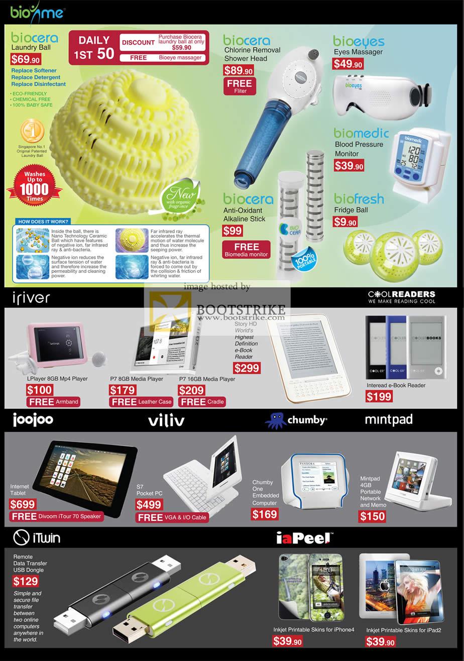 COMEX 2011 price list image brochure of Mccoy Biocera Laundry Ball Bioeyes Biomedic BioFresh Biocera IRiver LPlay Mp4 Media Player Joojoo Tablet S7 Viliv S7 Chumby Mintpad ITwin IaPeel