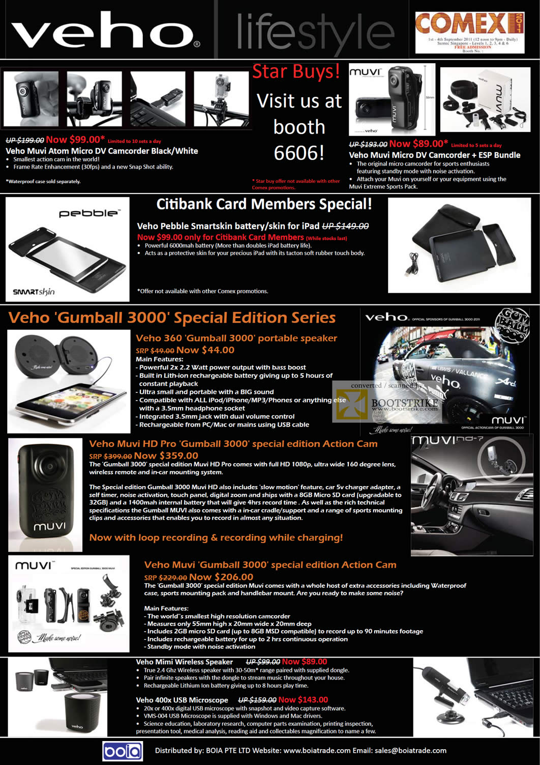 COMEX 2011 price list image brochure of Mojito Veho Muvi Atom Micro DV Camcorder ESP Pebble Battery Skin Gumball 3000 360 HD Pro Action Cam Mimi Wireless Speaker USB Microscope