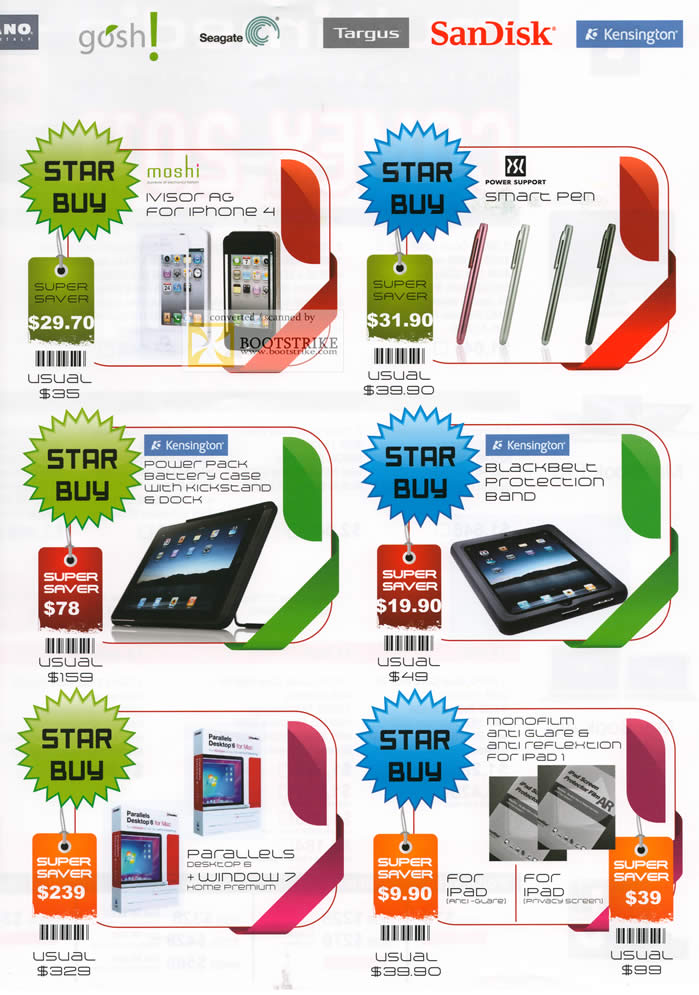 COMEX 2011 price list image brochure of Multimedia Accessories Moshi Ivisor Ag Smart Pen Power Pack Battery Case Blackbelt Protection Band Parallels Monofilm IPad