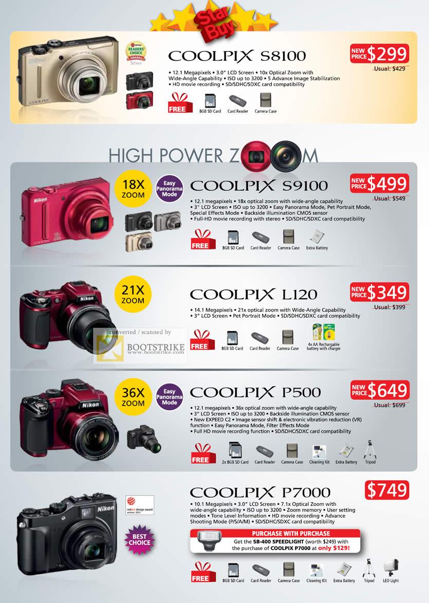 COMEX 2011 price list image brochure of Nikon Digital Cameras Coolpix S8100 S9100 L120 P500 P7000