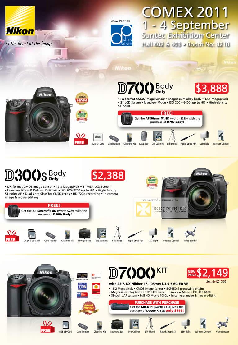 COMEX 2011 price list image brochure of Nikon Digital Cameras DSLR D700 Body Only D300s D7000 Kit