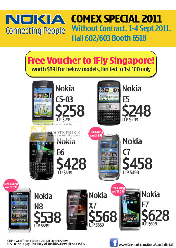 COMEX 2011 price list image brochure of Nokia Smartphones Mobile Phones C5-03 E5 E6 C7 N8 X7 E7