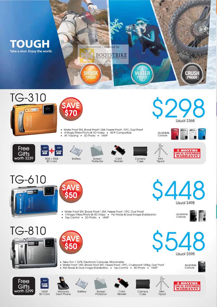 COMEX 2011 price list image brochure of Olympus Digital Cameras Tough TG-310 TG-610 TG-810