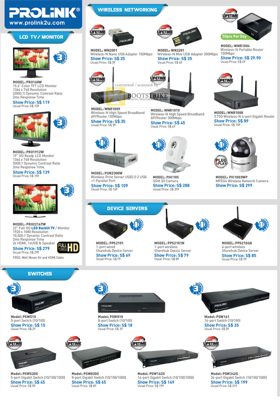 COMEX 2011 price list image brochure of Prolink LCD TV Monitors PRO160W PRO1912W PRO2216TW Routers Device Server USB Wireless Adapter IPCam 3G Print Server