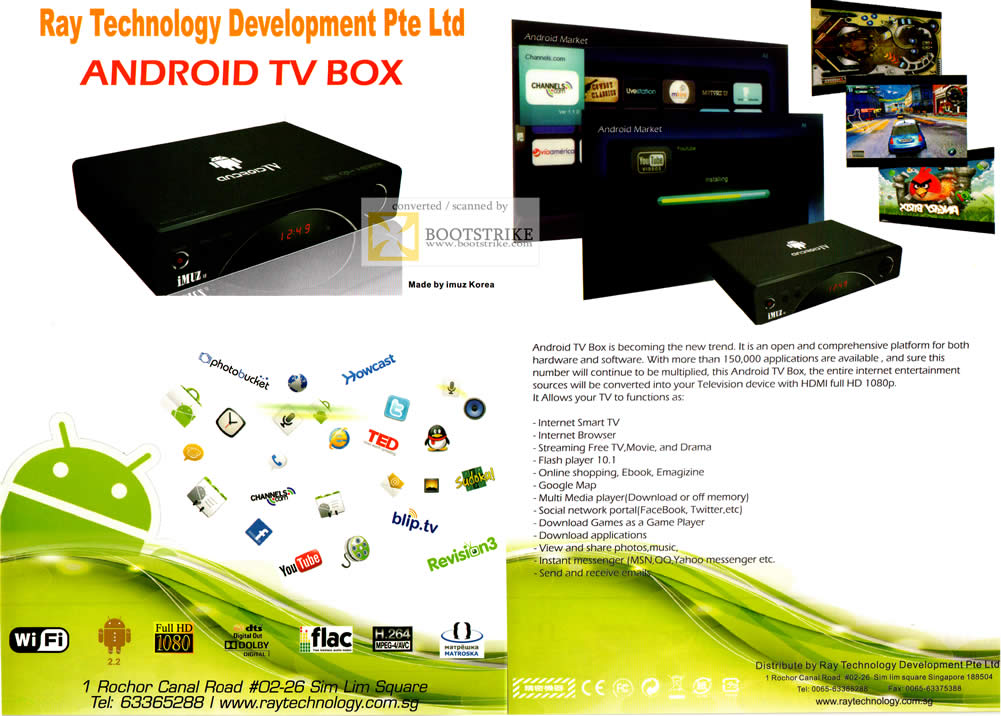 COMEX 2011 price list image brochure of Ray Tech Android TV Box Media Player